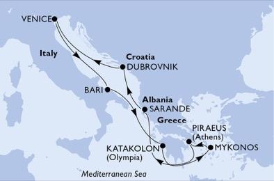 Földközi-tengeri hajóút - térkép