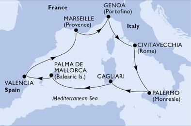 Mediterrán hajóút: Genova - Róma - Mallorca - Marseille útvonal