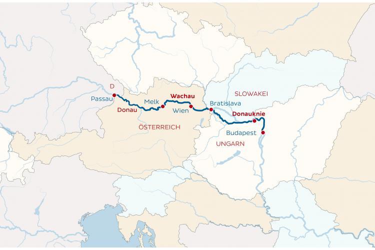 Dunai hajóút: Budapest - Passau útvonal térkép