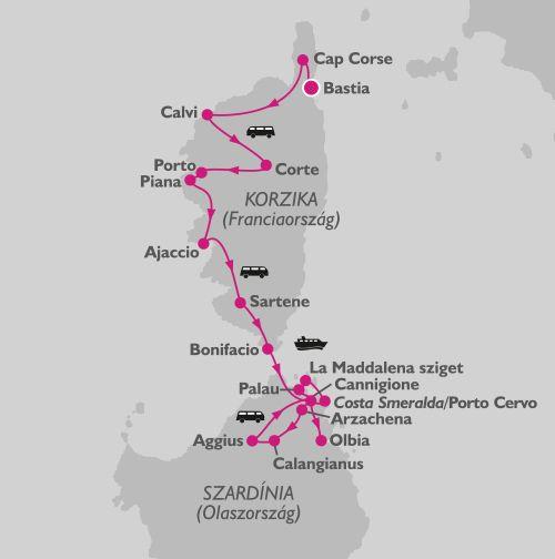 Korzika, Szardínia körutazás térkép