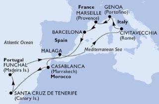 Mediterrán hajóút térkép: Marseille, Barcelona, Casablanca, Tenerife, Madeira, Malaga, Róma, Genova