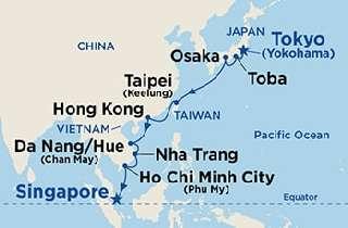 Japán - Hong Kong - Vietnam - Szingapúr karácsonyi, szilveszteri hajóút útvonal